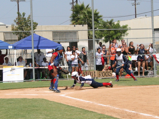 RBI World Series 2008 - Softball Championship - Sliding into First