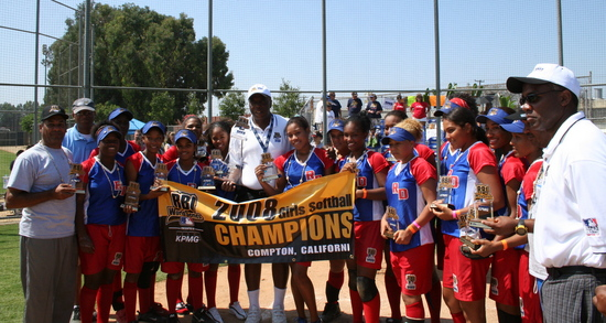 RBI World Series 2008 - Softball Championship - Santo Domingo group picture with trophies