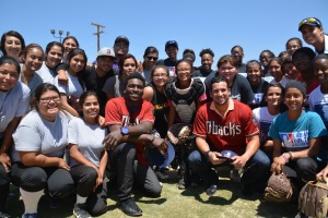 David Peralta and Didi Gregorius Visit the Softball Field
